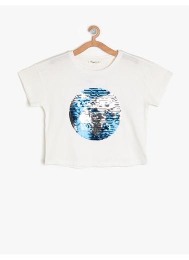 Koton Kids Pul Detaylı T-Shirt Ekru